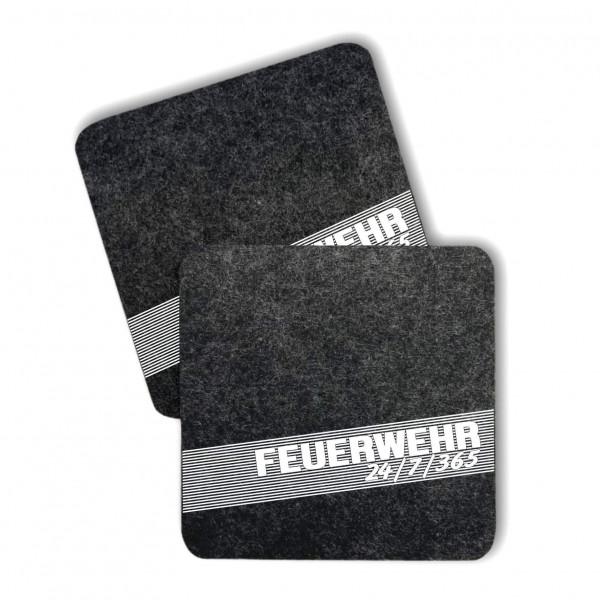 Feuerwehr Filz Untersetzer I 24/7/365