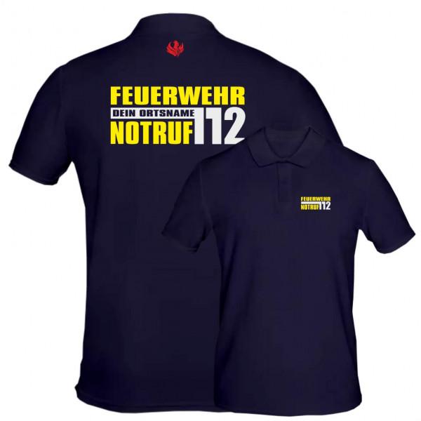 Poloshirt Männer I Notruf 112 +Ortsname