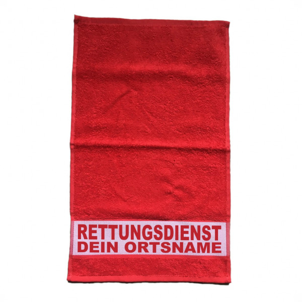 Gästehandtuch Rot I RD +Ortsname