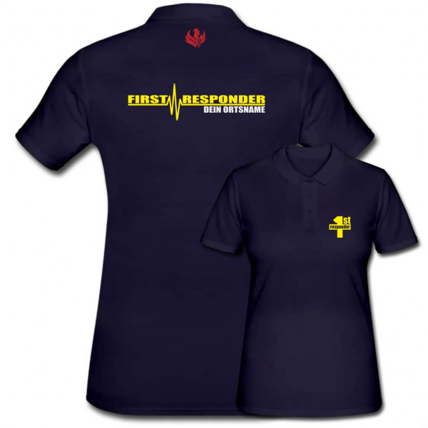 Poloshirt Frauen I First Responder +Ortsname