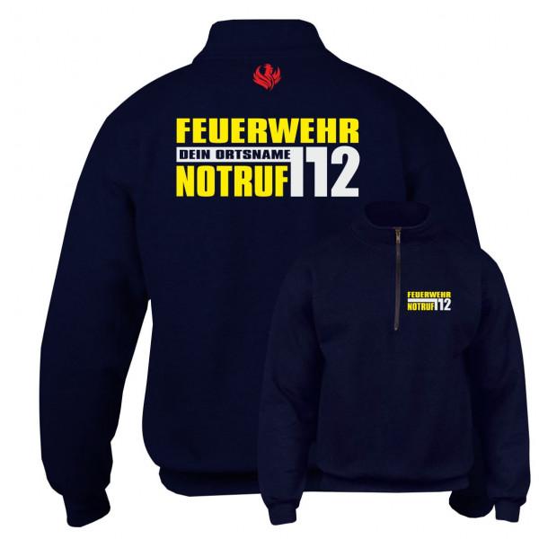 Kragenpullover 1/4 Zip I FW Notruf 112 +Ortsname