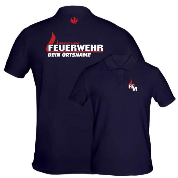 Poloshirt Männer I FW Flamme +Ortsname