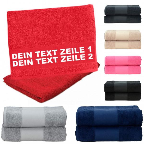 Handtuch versch. Farben I Dein Text 2 Zeilen