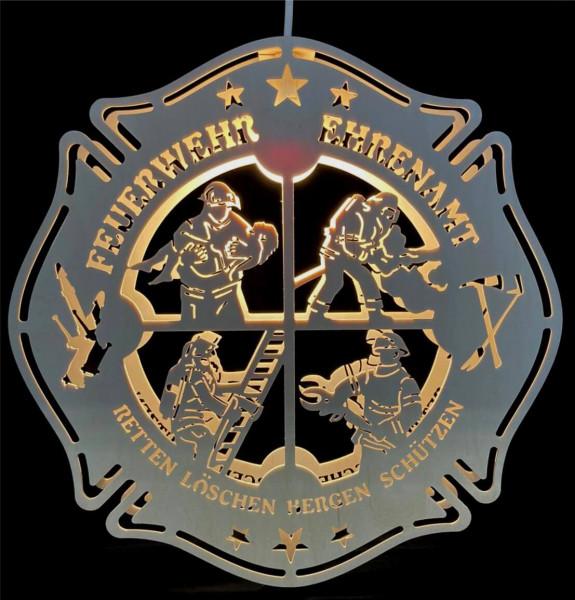 Feuerwehr Echtholz I Fensterbild