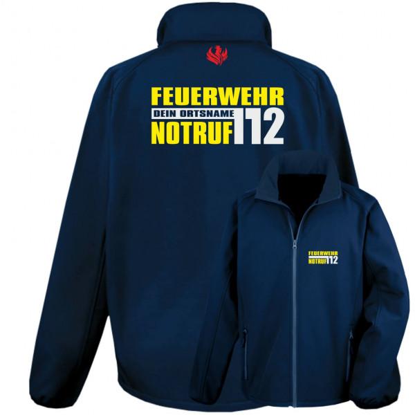 Softshelljacke Männer I FW Notruf 112 +Ortsname