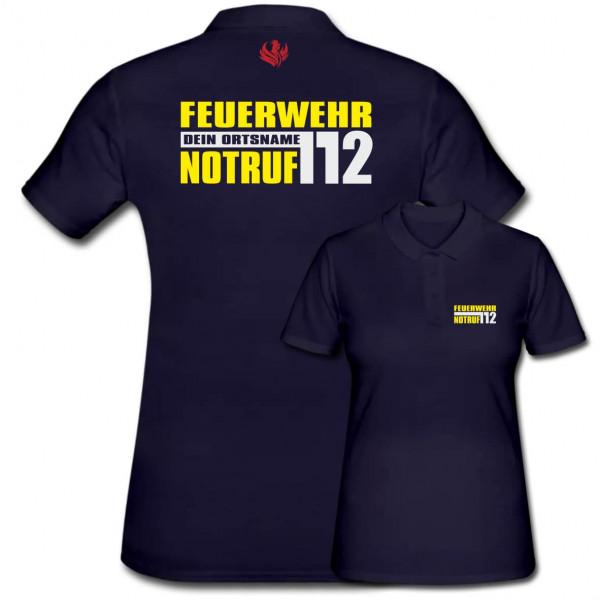 Poloshirt Frauen I Notruf 112 +Ortsname