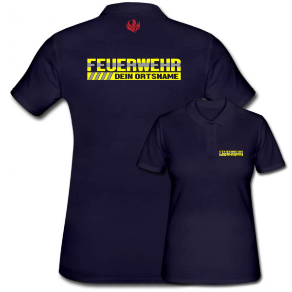 Poloshirt Frauen I Feuerwehr +Ortsname