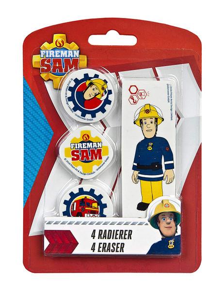 Feuerwehrmann Sam I 4 Radierer auf Blisterkarte