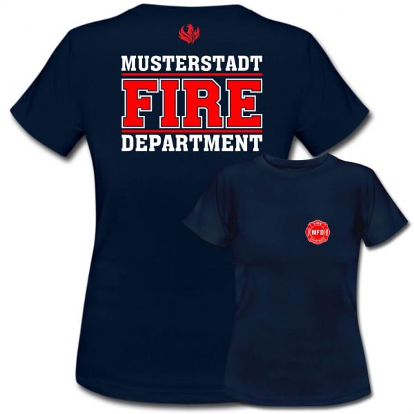 Tshirt Frauen I Fire Dept. +Ortsname