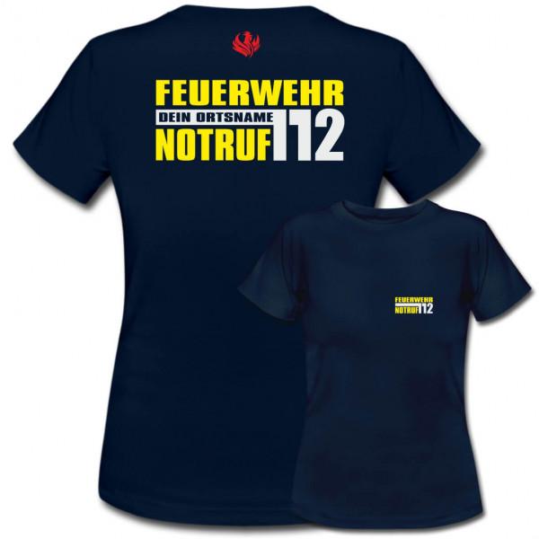 Tshirt Frauen I Notruf 112 +Ortsname