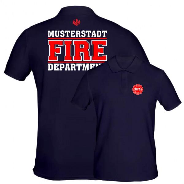Poloshirt Männer I Fire Dept. +Ortsname