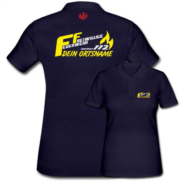 Poloshirt Frauen I FF Notruf 112 +Ortsname
